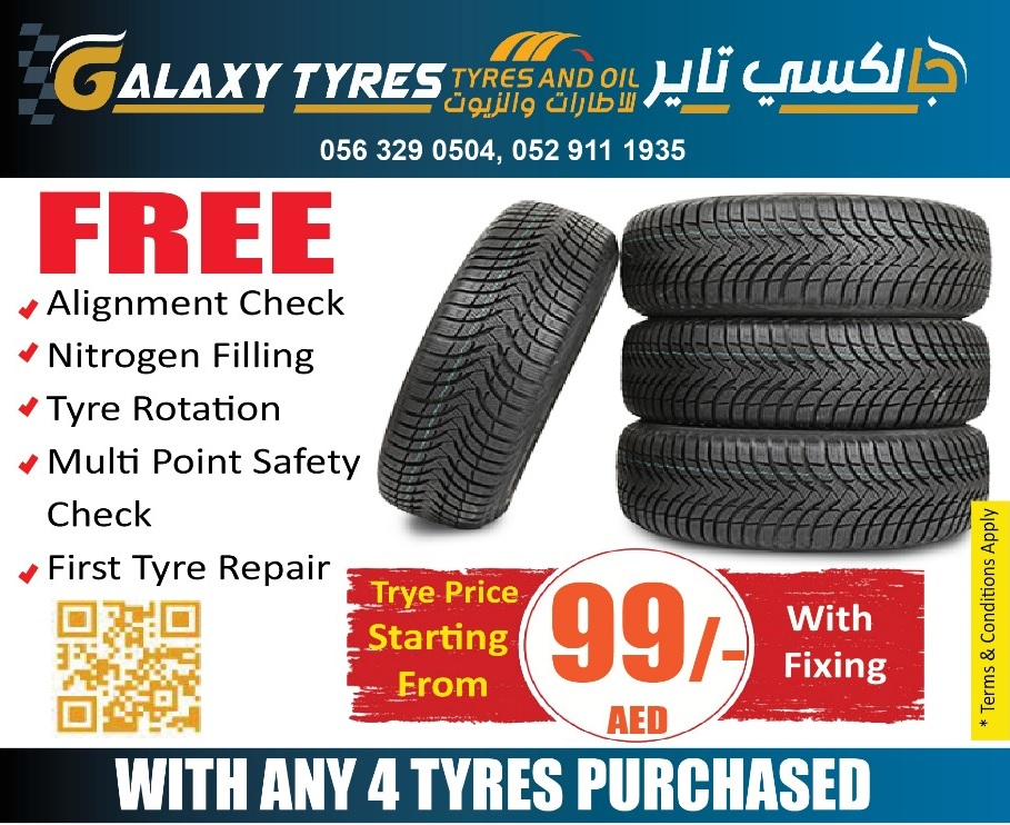 Car Tyre Change Price Starting from 99 Dhs with fxing