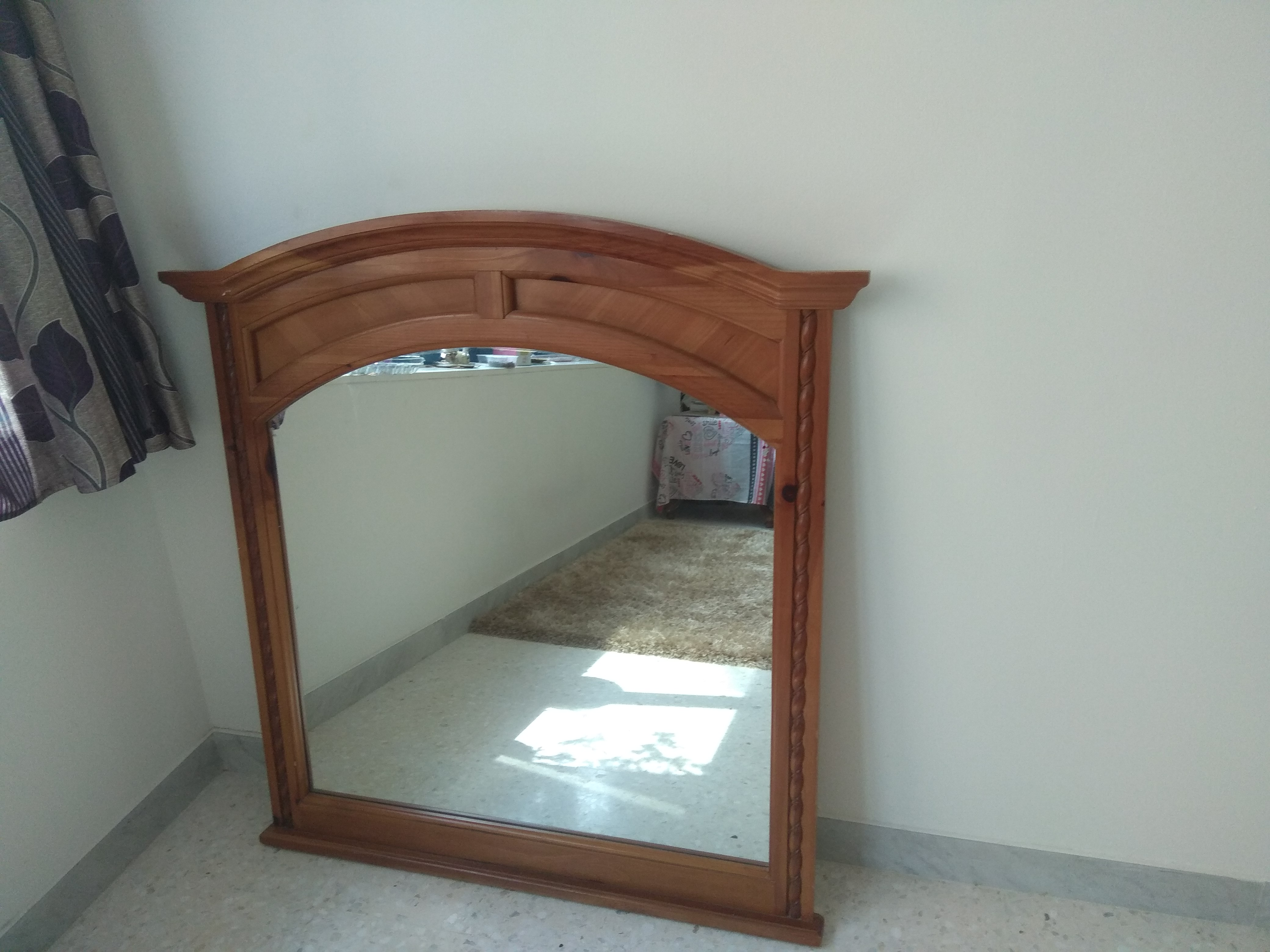 Good Quality Big Mirror with Solid Wood frame.  Suitable for Hall,  Dressing room and Bathrooms.  Dhs. 200. Must sell